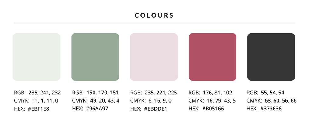 Paleta kolorów uzupełniona o oznaczenia kolorów w systemie RGB, CMYK i HEX